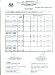 aiou date sheet