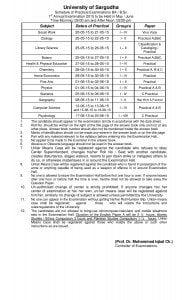 BA BSc Practical Examination Date Sheet